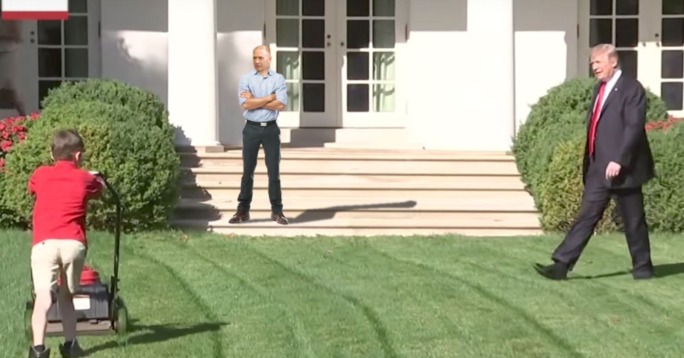 resident white house grass cutter clay higgins looks on in anger